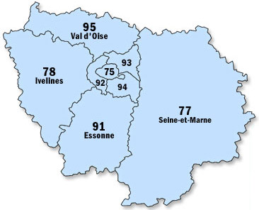 Location benne Ile de France. Carte